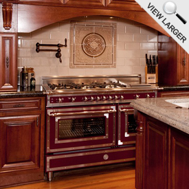 Bertazzoni Burgundy Heritage Series Range in Tuscany Style Kitchen