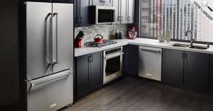 Counter Depth French Door Refrigerator Kitchen Scene