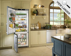 Liebherr Bottom-Mount Refrigerator with Doors Ajar