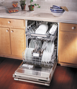 Viking D3 Series Dishwasher Open and Loaded